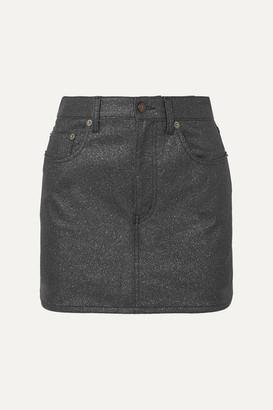 Saint Laurent Glittered-denim Mini Skirt - Black