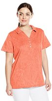 Caribbean Joe Women's Plus-Size Short-Sleeve Cotton Jacquard Y Neck Polo