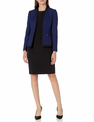 Le Suit LeSuit Women's Two Toned Tweed Framed Jacket Sheath Dress Suit
