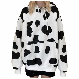 Hefyba Cow Print Sweatshirt Hoodie for Women Plus Size Long Sleeve Pullover with Pocket Teen Girl Going Out Drawstring Blouse White