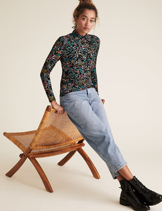 Marks and Spencer Cotton Floral Funnel Neck Fitted Top