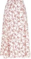 Emilia Wickstead Luison Floral Print Midi Skirt, Red, UK 16