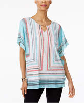 JM Collection Striped Chiffon-Trim Tunic, Created for Macy's