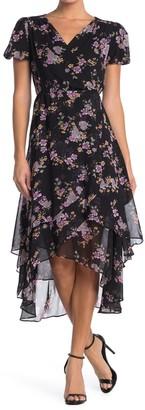 Betsey Johnson Floral Faux Wrap Midi Dress (Regular & Plus Size)