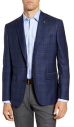 Ted Baker Jay Blue Plaid Two Button Notch Lapel Wool Suit Separate Blazer