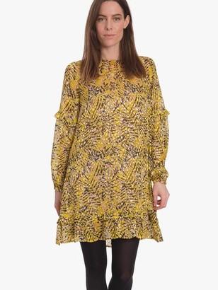 Project Aj117 - Gwyneth Printed Devore Dress Sulphur - S
