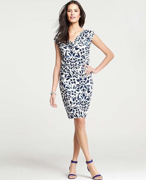 Ann Taylor Floral Ikat Print Blouson Cap Sleeve Dress