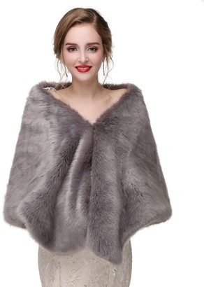 Vipgowns Women Wedding Faux Fur Shawls and Wraps Bridal Fur Stole and Scarves (7 One size)