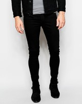 Cheap Monday Jeans Mid Spray On Extreme Super Skinny Fit Black - Black
