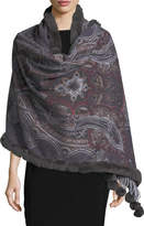 Gorski Paisley Cashmere Stole w/ Fur Trim, Gray Pattern