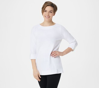 Denim & Co. Active Petite French Terry 3/4- Sleeve Tunic