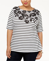 Karen Scott Plus Size Striped Floral-Print Top, Created for Macy's
