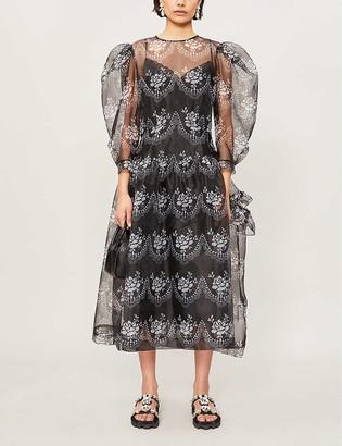 Simone Rocha Floral-print puff-sleeve crepe dress