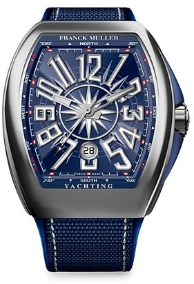 Franck Muller Yachting Vanguard Stainless Steel Leather Strap Watch