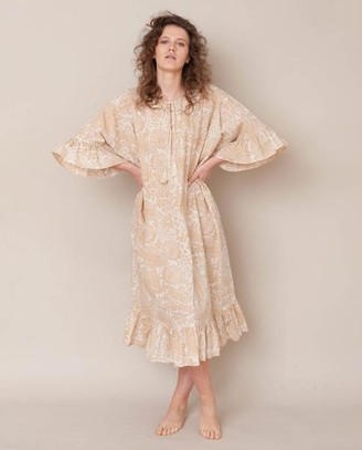 Beaumont Organic Radha Organic Cotton Dress In Cream Print - Cream Print / Small