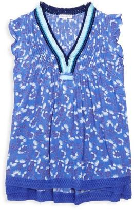Poupette St Barth Little Girl's & Girl's Mini Sasha Floral Fringe-Trim Shift Dress