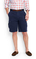 "Lands' End Men's Traditional Fit 11"" Casual Cargo Shorts-Washed Navy Madras"