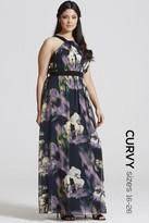 Little Mistress Curvy Floral Print Occasion Maxi Dress