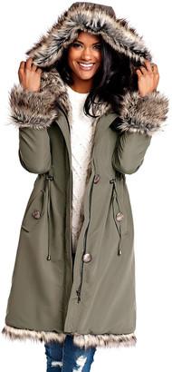 Fabulous Furs Faux Fur-Trim Hooded Storm Coat