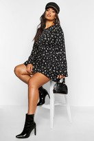 boohoo Plus Ditsy Floral Long Sleeve Smock Dress