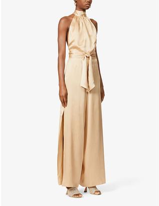 HARMUR Effortless Gold halterneck silk-satin jumpsuit