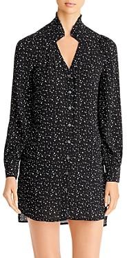 BILLY T Textured Star Print Shirt Dress