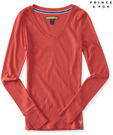 Aeropostale Womens Prince & Fox Ribbed V-Neck Tee Shirt
