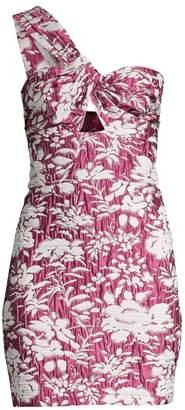 Alexis Livie Asymmetric Floral Jacquard Mini Sheath Dress