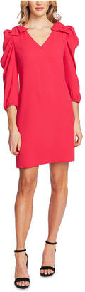 CeCe Bow-Shoulder V-Neck Dress