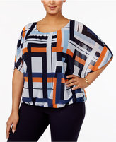 Alfani Plus Size Printed Mesh Flutter-Sleeve Bubble Top, Only at Macy's
