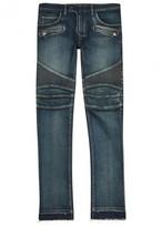 Balmain Indigo Distressed Slim-leg Biker Jeans