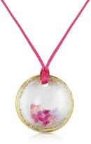 Murano House of Round Glass Pendant w/ Fuchsia Lace
