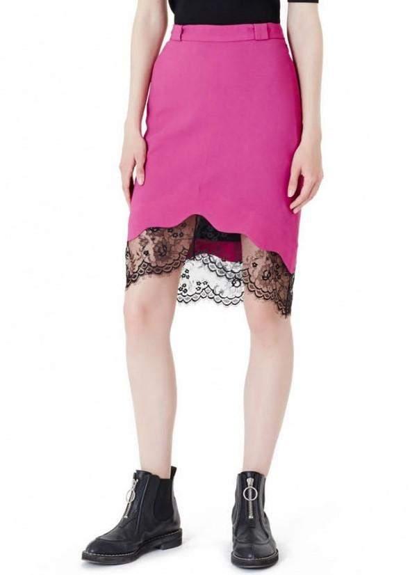 Carven Lace Trim Skirt Fuschia