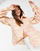 Thumbnail for your product : Lost Ink oversized shirt with balloon sleeves in retro floral print