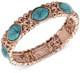 Nine West Rose Gold-Tone Blue Stone Stretch Bracelet