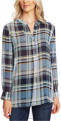 Vince Camuto Plaid Henley Tunic