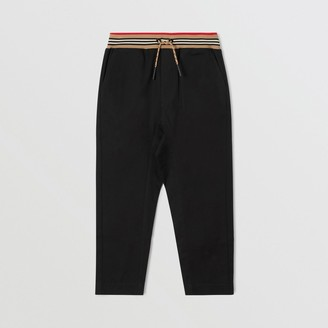 Burberry Icon Stripe Detail Cotton Twill Drawcord Trousers