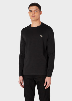 Paul Smith Men's Black Organic-Cotton Zebra Logo Long-Sleeve T-Shirt
