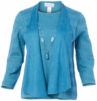 Alfred Dunner Women's Petite PetiteFaux Suede Trim Twofer Sweater with Removable nceklace