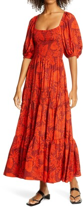 La Ligne Smocked Bodice Silk Maxi Dress