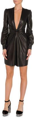 Tom Ford Deep V-Neck Leather Cocktail Dress