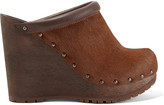 See by Chloe Leather-trimmed calf hair wedge clogs