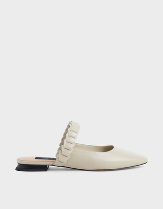 Charles & Keith Leather Pleated Strap Mules