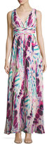 Aidan Mattox Sleeveless Pleated Printed Gown, Pink/Multi