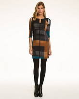 Le Château Block Print Knit Split V-Neck Mini Dress