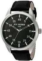 Ben Sherman Men's 'Portobello Professional' Quartz Stainless Steel and Leather Automatic Watch, Color:Black (Model: WB028BA)