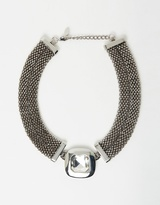 Izoa Rose Statement Necklace Silver