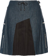 Tim Coppens Wool and silk blend-paneled denim mini skirt