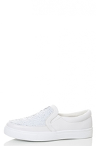 Quiz White PU And Sequin Skater Trainers