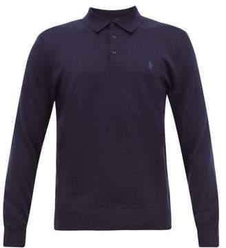 Polo Ralph Lauren Logo-embroidered Merino-wool Polo Shirt - Mens - Navy